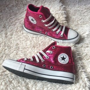 🎀New Converse Sequined HOT PINK HiTops